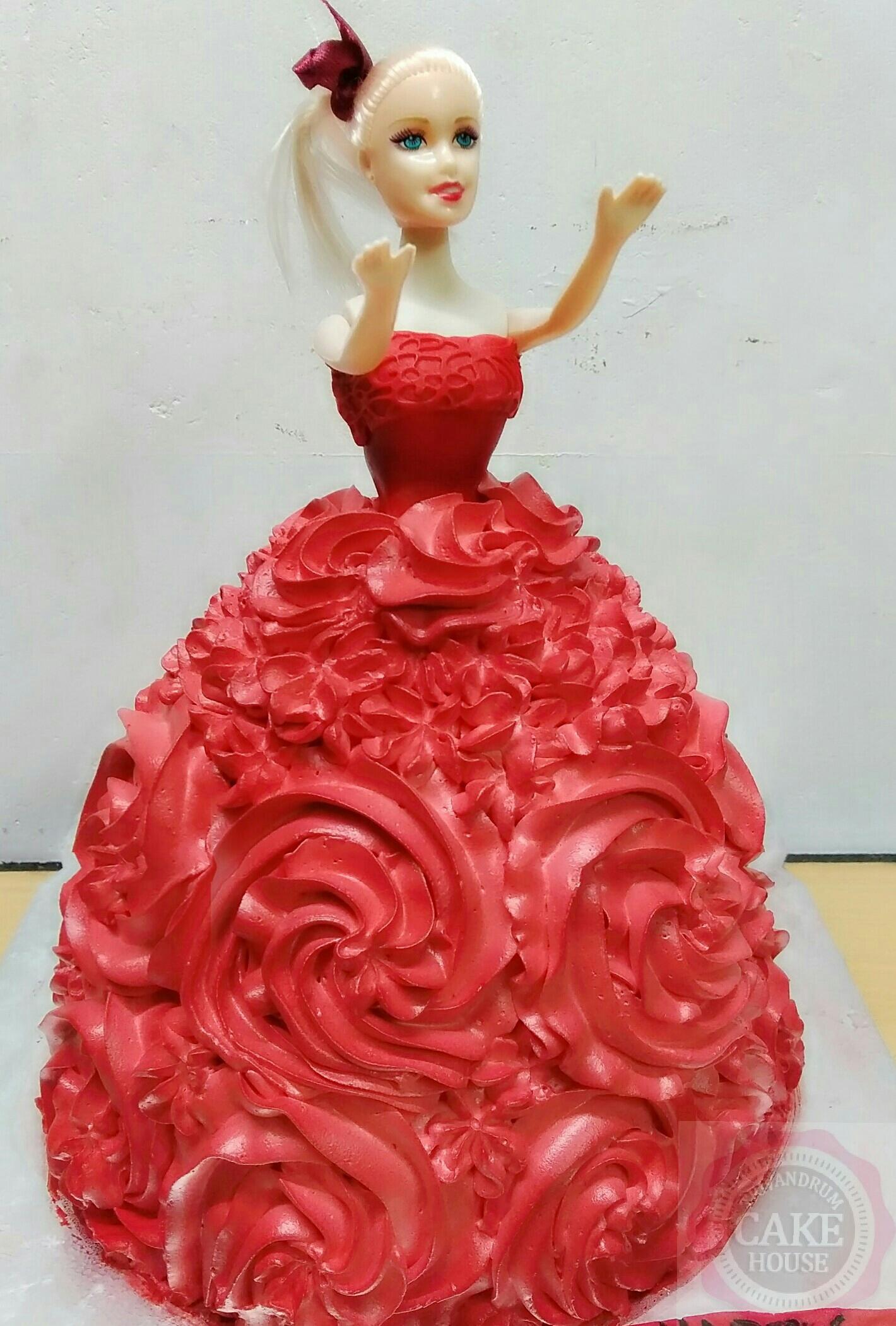 Fresh Cream Barbie Doll Cake Trivandrum Cake House Tm